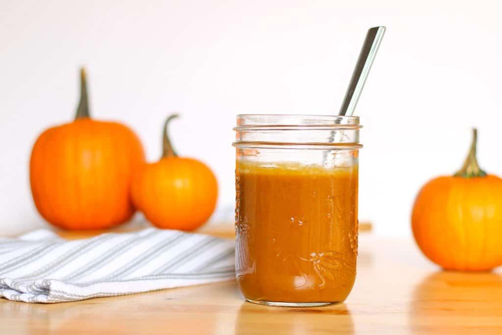 pumpkins and mason jar of sauce