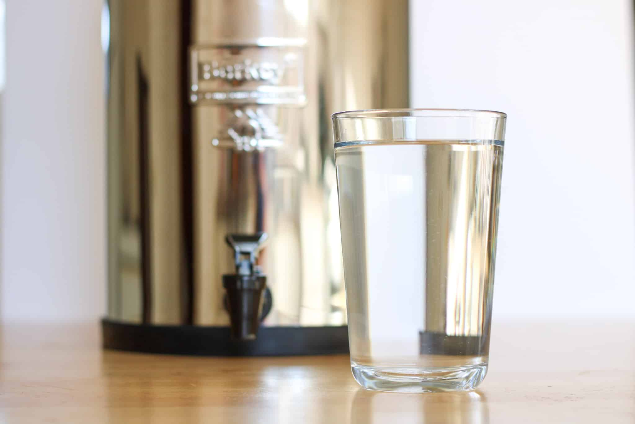 glass of water and berkey filter